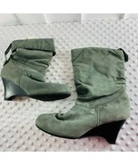 CL By Laundry Gray WOmens S z 9 m Slouch boots Gray Wedge Heel Ankle Sna... - $18.49