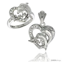 Size 5 - Sterling Silver DOLPHINS HEART LOVE Ring & Pendant Set CZ Stones  - $103.60