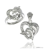 Size 8 - Sterling Silver DOLPHINS HEART LOVE Ring & Pendant Set CZ Stones  - $103.60