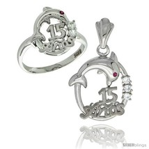 Size 7 - Sterling Silver Quinceanera 15 ANOS Dolphin Ring & Pendant Set CZ  - $85.16