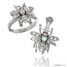 Size 8 - Sterling Silver Bee Ring & Pendant Set CZ Stones Rhodium  - $104.87
