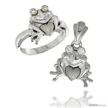 Size 8 - Sterling Silver Frog & Heart Ring & Pendant Set CZ Stones Rhodium  - $90.42