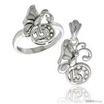 Size 5 - Sterling Silver Quinceanera 15 ANOS Butterfly Ring & Pendant Set CZ  - $87.84