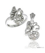 Size 5 - Sterling Silver Quinceanera 15 ANOS Butterfly Ring & Pendant Se... - $87.84