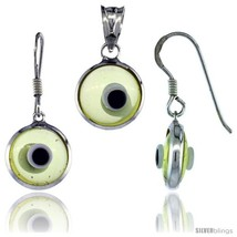 Sterling Silver Translucent Light Yellow Color Evil Eye Pendant & Earrings  - $17.65
