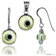 Sterling Silver Translucent Light Yellow Color Evil Eye Pendant & Earrings  - $17.65