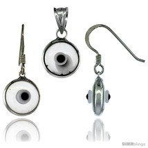 Sterling Silver Translucent Light Gray Color Evil Eye Pendant & Earrings  - $17.65