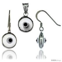 Sterling Silver Translucent Light Gray Color Evil Eye Pendant & Earrings  - $17.65