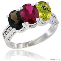 An item in the Jewelry & Watches category: Size 6 - 14K White Gold Natural Smoky Topaz, Ruby & Lemon Quartz Ring 3-Stone