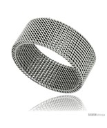 Size 10.5 - Surgical Steel Mesh Ring 10 mm Wedding  - $24.00