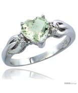 Size 9 - 14k White Gold Ladies Natural Green Amethyst Ring Heart 1.5 ct.... - £303.16 GBP