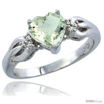 Size 9.5 - 14k White Gold Ladies Natural Green Amethyst Ring Heart 1.5 c... - £308.36 GBP