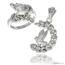 Size 5 - Sterling Silver Dove on Olive Branch Ring & Pendant Set CZ Stones  - $135.01