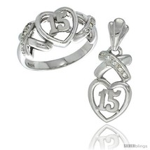 Size 5 - Sterling Silver Quinceanera 15 Anos Heart Ring & Pendant Set CZ Stones  - $89.12