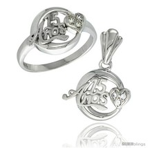Size 7 - Sterling Silver Quinceanera 15 ANOS w/ Heart Ring & Pendant Set CZ  - $66.82