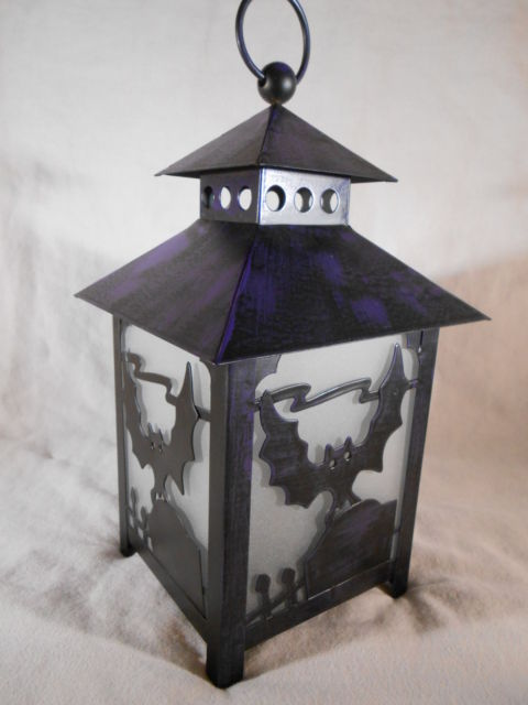 Primary image for Halloween CANDLE LANTERN Spooky BAT SILHOUETTE Purple & Black Metal (#14202)