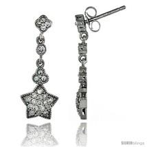 Sterling Silver Star Dangle Earrings w/ Brilliant Cut CZ Stones, 1 in. (26 mm)  - $42.47