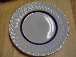 Shenango China U-35 6.5 inch Dessert Plate Laurel Rim Gold Trim Cobalt B... - $7.43