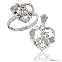 Sterling silver quinceanera 15 anos rose ring pendant set cz stones rhodium finished thumb200