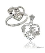 Size 8 - Sterling Silver Quinceanera 15 ANOS Rose Ring & Pendant Set CZ ... - $83.86