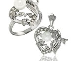 Ing silver heart love bow w faux pearl ring pendant set cz stones rhodium finished thumb155 crop