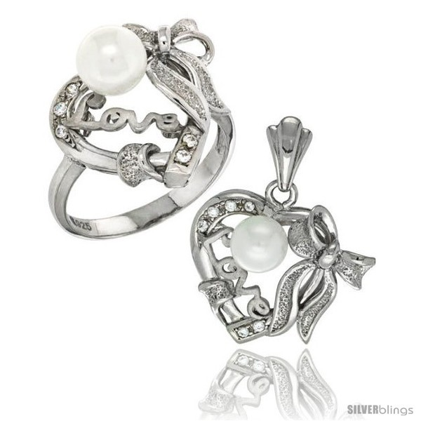 Sterling silver heart love bow w faux pearl ring pendant set cz stones rhodium finished