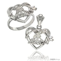 Size 8 - Sterling Silver No. 1 Madre w/ Cupid's Bow Heart Ring & Pendant Set CZ  - $85.16