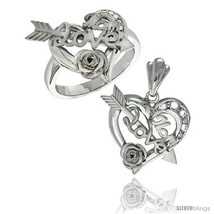 Size 5 - Sterling Silver LOVE MOM w/ Cupid's Bow & Rose Heart Ring & Pendant  - $110.13