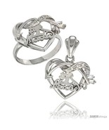 Size 6 - Sterling Silver No. 1 Madre w/ Cupid's Bow Heart Ring & Pendant... - $85.16