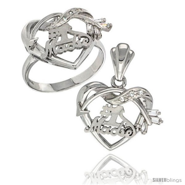 Sterling silver no 1 madre w cupids bow heart ring pendant set cz stones rhodium finished