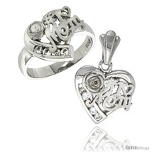 Sterling silver no 1 mom heart love ring pendant set cz stones rhodium finished thumb200