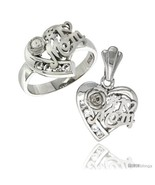 Size 6 - Sterling Silver No. 1 MOM Heart Love Ring & Pendant Set CZ Stones  - $89.12