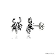 Tiny Sterling Silver Scorpion Stud Earrings 7/16  - $16.71