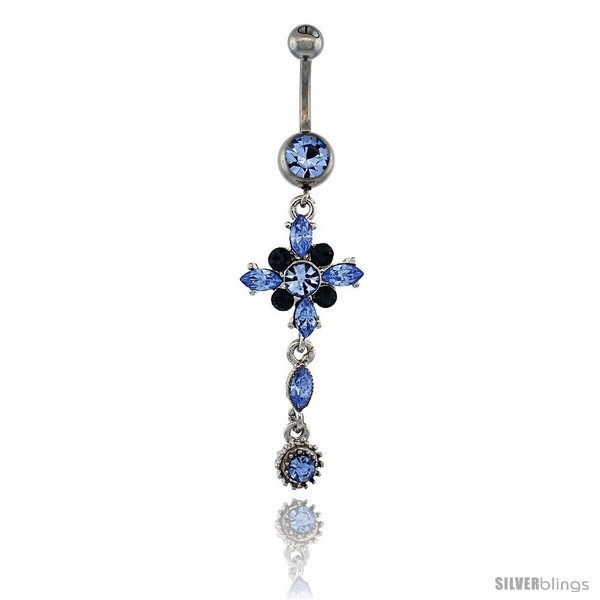 Primary image for Surgical Steel Flower Belly Button Ring w/ Blue Crystals, 2 in (50 mm) tall