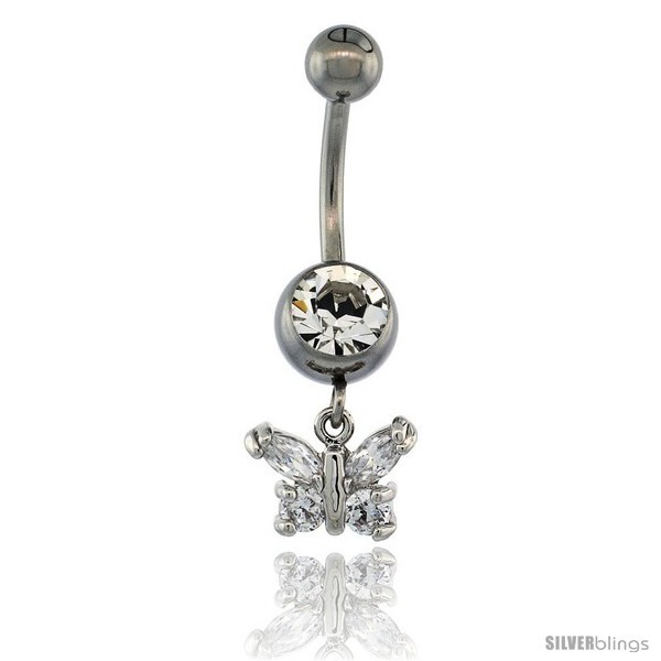 Primary image for Surgical Steel Butterfly Belly Button Ring w/ Crystals, 3/4 in (17 mm) tall