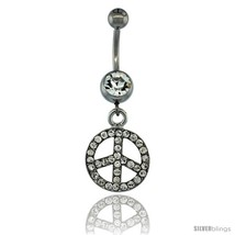 Surgical Steel Dangle Peace Sign Belly Button Ring w/ Crystals, 1 1/2 in (38  - $15.69