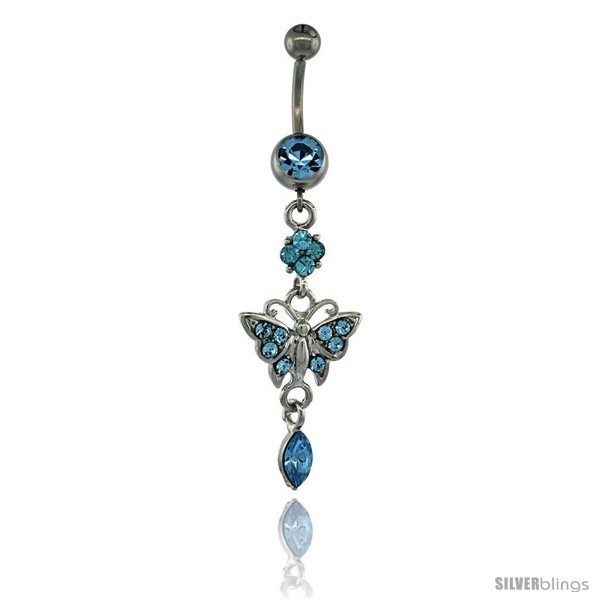 Primary image for Surgical Steel Dangle Butterfly Belly Button Ring w/ Blue Crystals, 2 5/16 in