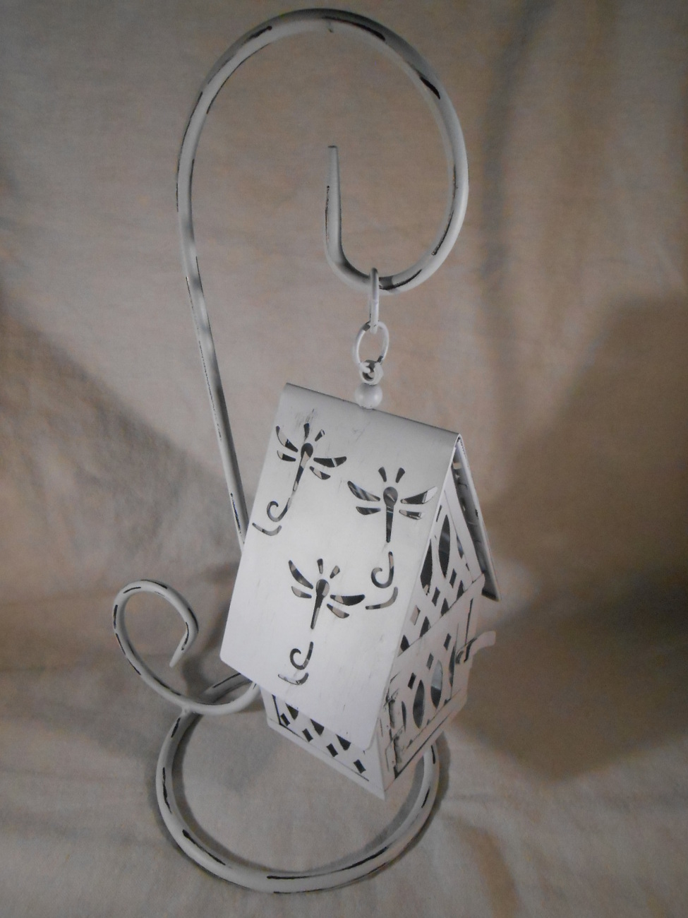Primary image for Hanging White COTTAGE CANDLE LANTERN Metal Tealight Or Votive (#38560)