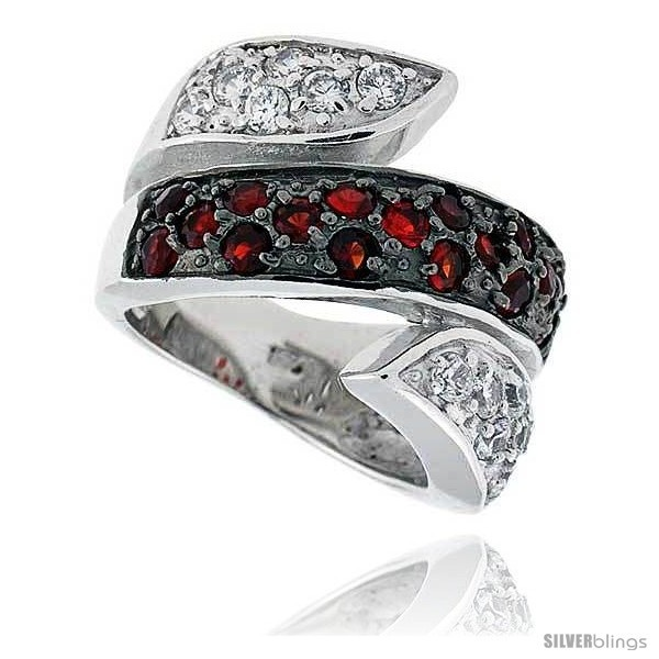 Rling silver rhodium plated spiral band w 2mm high quality czs 17 ruby 14 white 11 16 17 mm wide