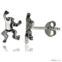 Tiny Sterling Silver Frog Stud Earrings 1/2 in -Style  - $12.51