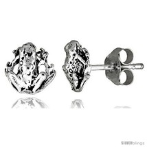 Tiny Sterling Silver Frog Stud Earrings 5/16 in -Style  - $12.51