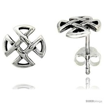 Sterling Silver Quaternary Celtic Knot Stud Earrings, 1/4 in -Style  - $13.14