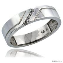 white gold mens diamond ring band w 0 05 carat brilliant cut diamonds 3 16 in 5mm wide thumb200
