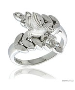 Size 7 - Sterling Silver Dove on Olive Branch Ring CZ stones Rhodium Fin... - £60.81 GBP