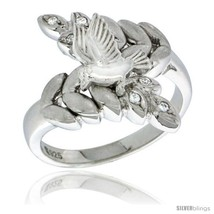 Size 6 - Sterling Silver Dove on Olive Branch Ring CZ stones Rhodium Fin... - $65.32