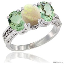 Size 8 - 14K White Gold Natural Opal & Green Amethyst Sides Ring 3-Stone... - £551.14 GBP