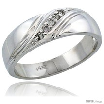 Size 11 - 14k White Gold Men's Diamond Ring Band w/ 0.10 Carat Brilliant Cut  - $781.25