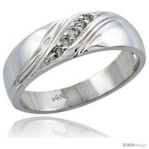 Size 11 - 14k White Gold Men's Diamond Ring Band w/ 0.10 Carat Brilliant... - $781.25