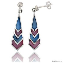 Sterling Silver Freeform Pink & Blue Mother of Pearl Inlay Earrings, 1 1... - $26.17