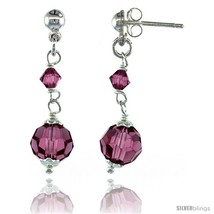 Sterling Silver Pink Sapphire Swarovski Crystals Drop Earrings, 1 1/4 in... - $26.41